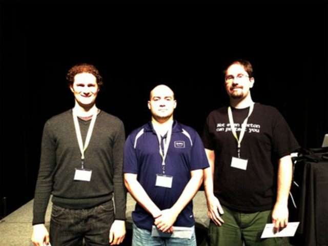 Winners of the Symantec Cyber Readiness Challenge Tim Aplin, Shawn Marriott and Seth Hardy (CNW Group/Symantec Canada)
