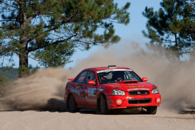 Driver Craig Henderson and co-driver Lyne Murphy finished third overall in their 2005 Subaru Impreza WRX STI. (CNW Group/Subaru Canada Inc.)