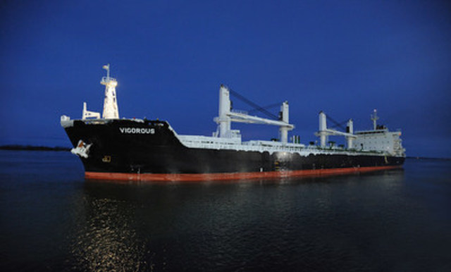 The Vigorous, first ocean-going vessel to reach the Port of Montreal without a stopover in 2016. (CNW Group/PORT OF MONTREAL)