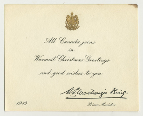 Christmas card sent in 1943 by Prime Minister William Lyon Mackenzie King to Canadian prisoner of war, Rifleman Arthur Kenneth Pifher. © Canadian War Museum, photo Bill Kent al2012184-001 and al2012184-002. (CNW Group/Canadian War Museum)