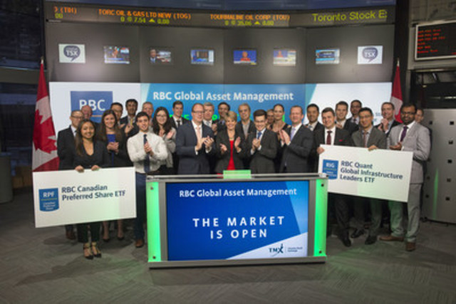 Sheila Doherty, Vice President, National Accounts, RBC Global Asset Management, joined Dani Lipkin, Business Development, Exchange Traded Funds, Closed-End Funds, and Structured Notes, TMX Group,‎ to open the market to launch four new Exchange-Traded Funds (ETFs): RBC Canadian Preferred Share ETF (RPF); RBC Quant Global Infrastructure Leaders ETF (RIG); RBC Target 2022 Corporate Bond Index ETF (RQJ); and RBC Target 2023 Corporate Bond Index ETF (RQK). RBC Global Asset Management (RBC GAM) is the asset management division of Royal Bank of Canada (RBC), and includes institutional money managers BlueBay Asset Management and Phillips, Hager & North Investment Management. RBC GAM currently has 24 ETFs listed on the Toronto Stock Exchange with a market value of $1.9 billion. RPF; RIG; RQJ; and RQK; commenced trading on Toronto Stock Exchange on September 20, 2016. (CNW Group/TMX Group Limited)