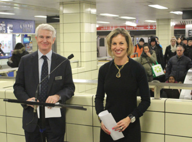 Corby Spirit and Wine CEO Patrick O'Driscoll, and TTC Chair Karen Stintz, announcing 3-year partnership to offer free transportation on New Year's Eve 7pm-7am. (CNW Group/Corby Spirit and Wine Communications)