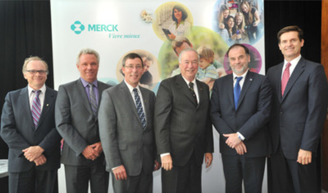 From left to right: Mr. Philippe Gros, PhD; Pr. Daniel Bourbonnais; Pr. Jean-Pierre Perreault, PhD; Mr. Denis ...
