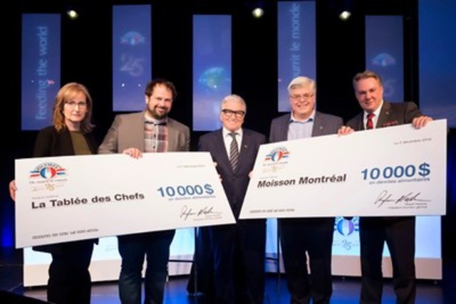 From left to right : Lise Gagnon, Vice President, Marketing and R & D, Olymel, Jean-François Archambault, CEO and Founder, La Tablée des Chefs, Rejean Nadeau, President and CEO, Olymel, Richard D. Daneau, Executive Director, Moisson Montréal and Louis Banville, Vice President, Human Ressources, Olymel. (CNW Group/Olymel l.p.)