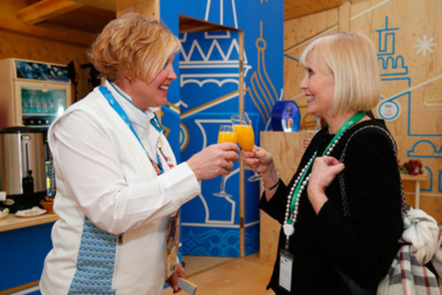 (L to R) Cheryl Simundson and Kate Virtue, mothers of defending gold medallists Kaillie Humphries and Tessa Virtue, tour the P&G Family Home. Athletes, their family and friends can visit the P&G Family Home, watch the Sochi 2014 Olympic Winter Games and indulge in services such as a COVERGIRL manicure. (CNW Group/Procter & Gamble)
