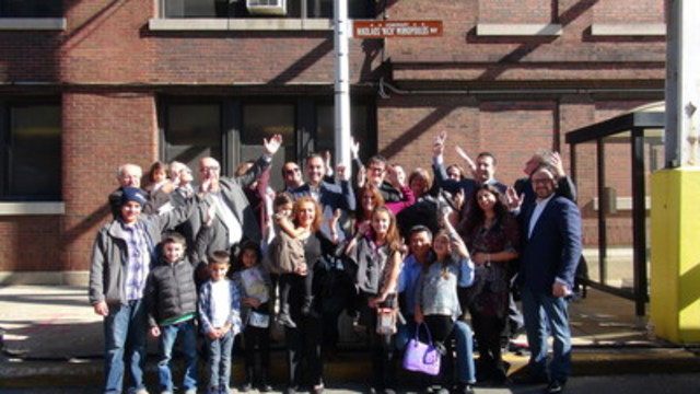 Family members of the late Nick Mirkopoulos, founder of Cinespace Film Studios, celebrate the City of Chicago's street dedication in Nick's honour on Thursday, October 22nd, 2015, on the Cinespace Chicago studio campus. (CNW Group/Cinespace Film Studios Inc.)