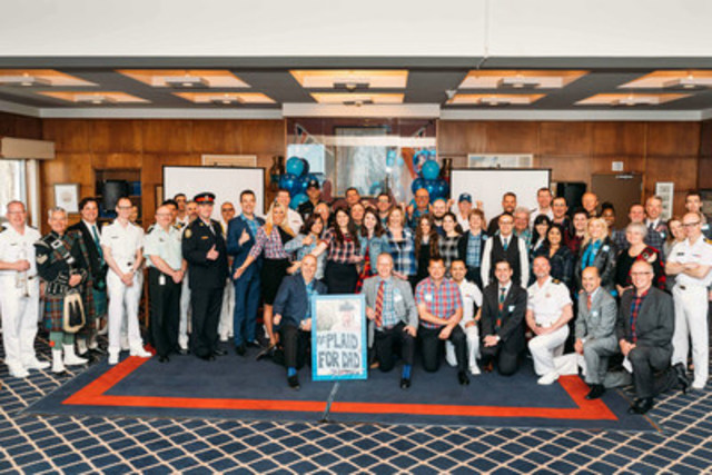 Prostate Cancer Canada team members pose in their best plaid with members of the Royal Canadian Navy, Toronto Police & Fire, as well as business leaders from far and wide to mark the launch of #PlaidforDad. (CNW Group/Prostate Cancer Canada)