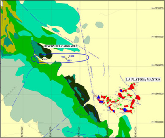Map 2: Location Map - Rincón del Caído Area (CNW Group/Excellon Resources Inc.)
