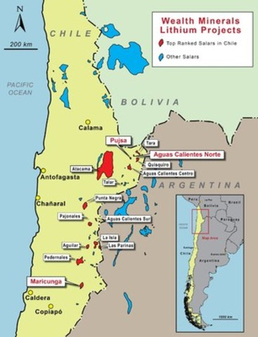 Figure 1:  Map Showing 15 Salares (Salt Flats) Identified as the Most Prospective in Chile by Chile's Servicio Nacional de Geologia y Minera, with Salares in which Wealth has the Right to Earn an Interest Identified in Red (CNW Group/Wealth Minerals Limited)