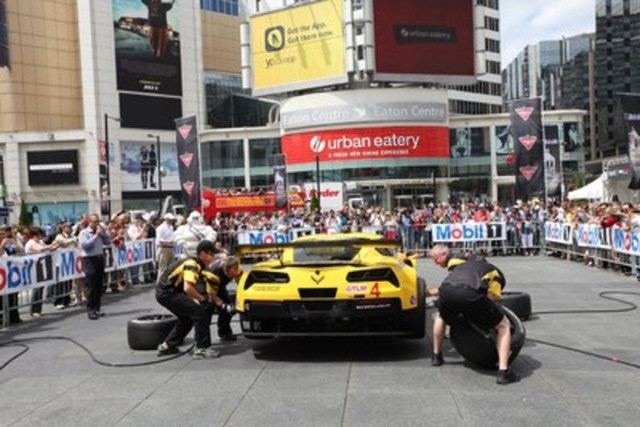 Pit stop demonstration with Corvette Racing team during a previous RaceFest at Yonge-Dundas Square (CNW Group/Canadian Tire Motorsport Park)