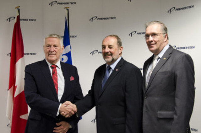 (from left to right) Mr. Bernard Bélanger, Chairman of the Board and Chief Executive Officer of Premier Tech, with the Honourable Denis Lebel and Mr. Gaétan Gamache, the Mayor of Rivière-du-Loup, at the Premier Tech World Headquarters in Rivière-du-Loup. (CNW Group/Premier Tech)