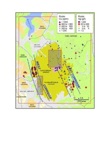 Figure 2: Valsequillo Geology and Sampling Results; greyed areas are 3rd party concessions. (CNW Group/Wealth Minerals Limited)