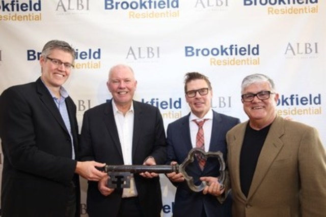 Trent Edwards, COO, Brookfield Residential (Alberta); Alan Norris, CEO, Brookfield Residential Properties Inc.; Allan Klassen, President and Managing Partner, ALBI Homes Ltd.; Tom Mauro, Co-Chair, ALBI Homes Ltd. (CNW Group/Brookfield Residential Properties Inc.)