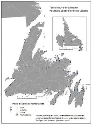 Terre-Neuve-et-Labrador - ¨Points de vente de Postes Canada (Groupe CNW/Syndicat des travailleurs et travailleuses des postes)
