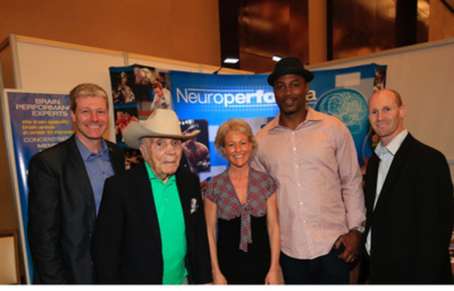 """Ring boxing legend """"Raging Bull"""" Jake LaMotta, Francine Therrien, Ph.D. clinical director at Neuroperforma, Lennox Lewis, 1988 olympic gold medalist and former undisputed heavyweight world champion boxer and Rock Therrien, president of Neuroperforma. (CNW Group/Neuroperforma)"""