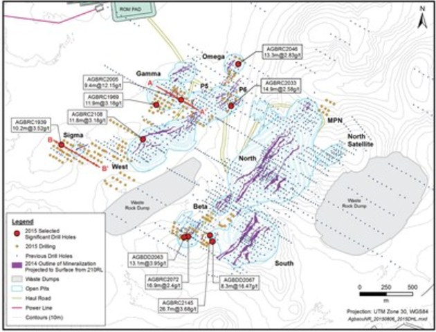 Figure 1: Plan Map Showing Drill Holes and Significant Intersections (CNW Group/Endeavour Mining Corporation)