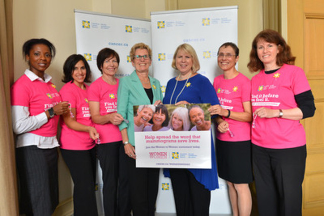 Ontario Premier Kathleen Wynne and Health Minister Deb Matthews help kick off the Canadian Cancer Society's new Women to Women movement that empowers women to spread the message that mammograms save lives alongside Women to Women ambassadors and CCS staff at Queen's Park on October 1. (CNW Group/Canadian Cancer Society (Ontario Division))