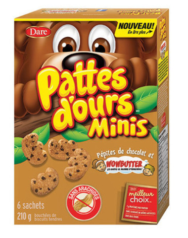 Les nouvelles Pattes d'ours Minis - Pépites de chocolat et Wowbutter(MD) goûtent le beurre d'arachides mais n'en contiennent pas (Groupe CNW/Aliments Dare Limitée)