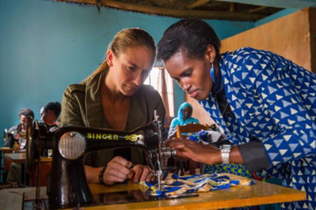 Alexandra Weston, Holt Renfrew's Director of Brand Strategy, at the 'Cooperative De Couture De Kicukiro' in Kigali, Rwanda, Africa (CNW Group/Holt Renfrew)