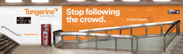 """Stop following the crowd"" - Tangerine takes over Yonge and Bloor Station in downtown Toronto. (CNW Group/Tangerine)"