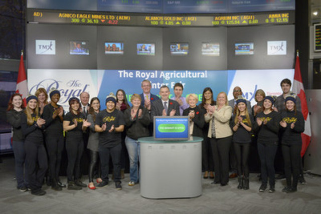 Charlie Johnston, CEO, Royal Agricultural Winter Fair joined Brenda Roach, Executive Program Management Director, TMX Group to open the market to kick-off the Royal Agricultural Winter Fair. The Royal is the largest combined indoor agricultural fair and international equestrian competition in the world. With over one million square feet of displays and competition facilities, The Royal welcomes 300,000 visitors annually. The Royal Agricultural Winter Fair takes place November 6 – 15 at The Exhibtion Place in Toronto. For more information please visit www.royalfair.org (CNW Group/TMX Group Limited)