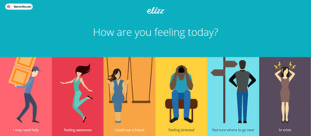 The Elizz caregiver self-assessment tool, 'How are you feeling today, is broken into six categories: I May Need Help; Feeling Awesome; Could Use A Friend; Feeling Stressed; Not Sure Where To Go Next; In Crisis. Elizz.com data shows 80% of caregivers report something other than 'feeling awesome' and that is only exacerbated during holiday periods. (CNW Group/Elizz)