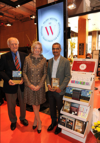 Hon. Hilary M. Weston flanked by award nominees Modris Eksteins and Kamal Al-Solaylee at the 2012 Hilary Weston Writers' Trust Prize for Nonfiction shortlist announcement. (CNW Group/The Writers' Trust of Canada)