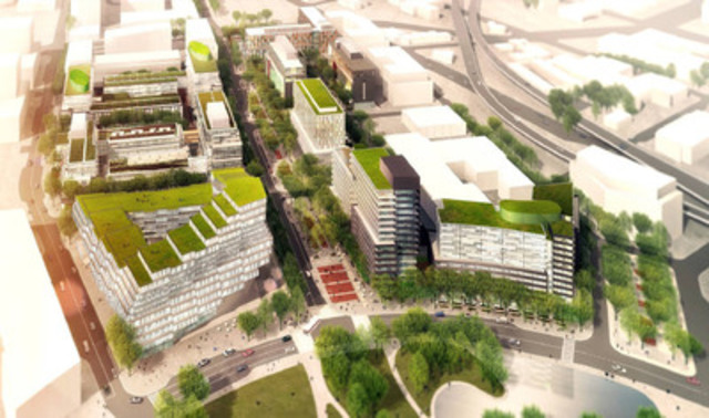 Aerial view: DundeeKilmer Integrated Design Team (CNW Group/Canary District Condominiums)