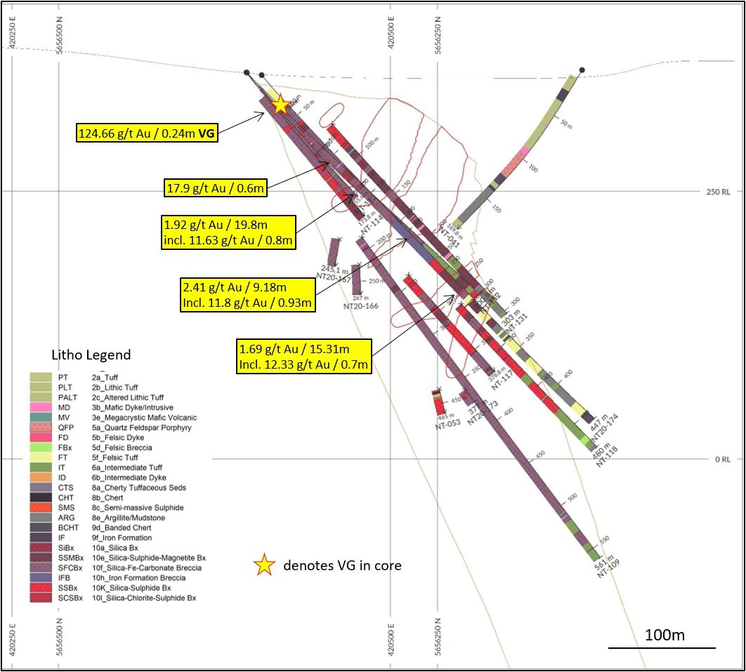 Diagram 4: DDH NT20-174, vertical section, looking northeast, 20m window. NT Zone outline dipping SE (right), internal wireframes are mineralized shapes used in 2015 Preliminary Economic Evaluation. (CNW Group/Trillium Gold Mines Inc.)