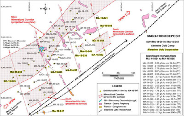 Figure 1: Map showing the location of the new DDH's MA-15-037 to MA-15-047, previously released DDH's MA-14-001 to MA-15-036, and mineralized corridors of the Marathon Deposit, Valentine Gold Camp. (CNW Group/Marathon Gold Corporation)
