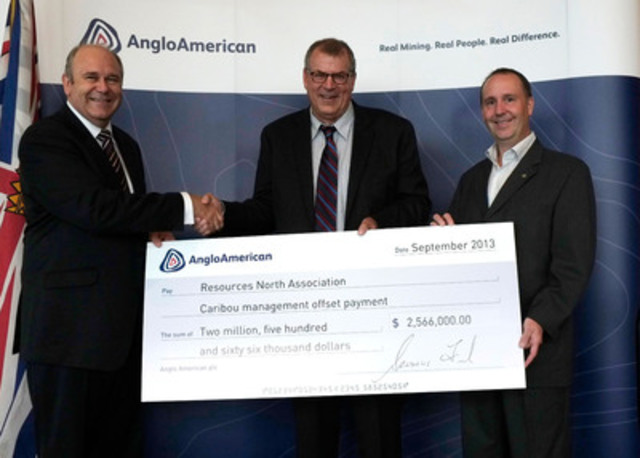 Left to right, Brent Waldron, Chief Financial Officer of Anglo American's Metallurgical Coal business; the Honourable Steve Thomson, Minister of Forests, Lands and Natural Resource Operations with the Government of British Columbia, and Mike Bernier, M.L.A. Peace River South for the Province of British Columbia. (CNW Group/Anglo American)