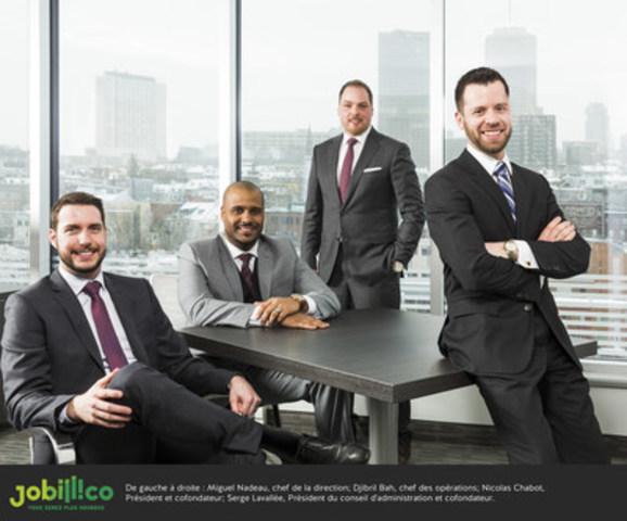 De gauche à droite : Miguel Nadeau, chef de la direction; Djibril Bah, chef des opérations, Nicolas Chabot, Président et cofondateur; Serge Lavallée, Président du conseil d'administration et cofondateur (Groupe CNW/Jobillico)