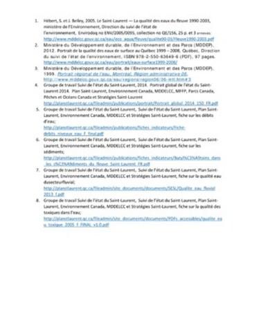 Annexe 2: Références d'étude sur le fleuve (Groupe CNW/Ville de Montréal - Cabinet du maire et du comité exécutif)