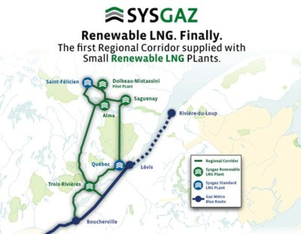 The Saguenay-Lac-Saint-Jean Regional Corridor - The First Network Supplied with Small Renewable LNG Plants (CNW Group/Sysgaz Inc.)