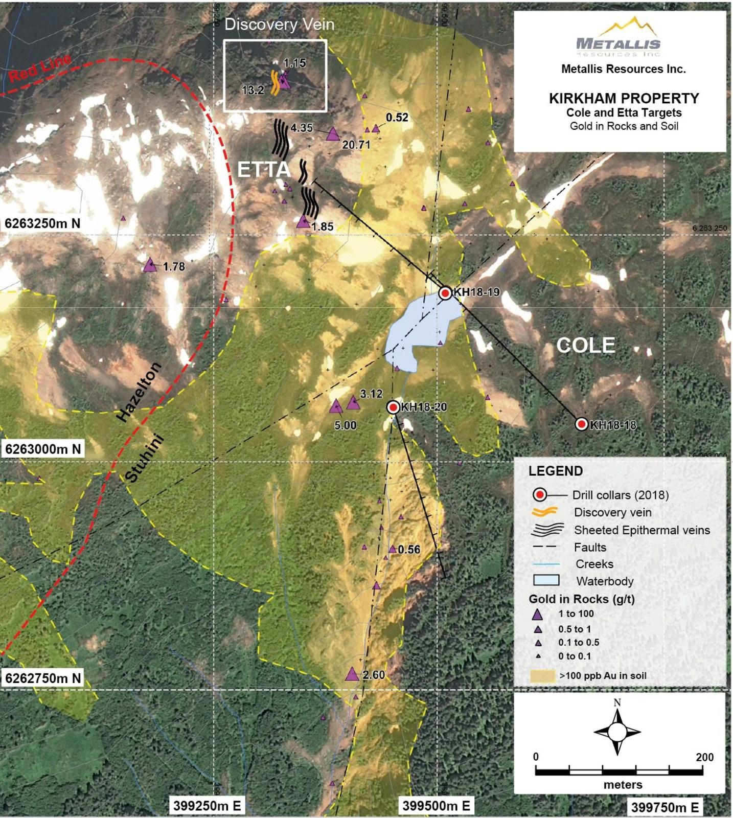 Metallis Resources Inc - Etta & Cole Targets  - GeoChem Map