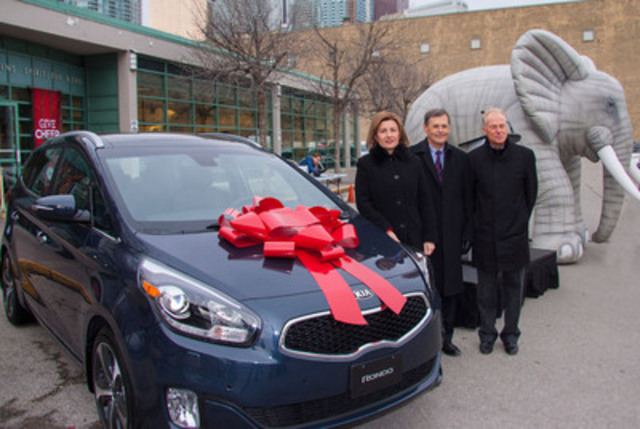 Maria Soklis, Kia Canada COO (left), Bob Peter, LCBO President & CEO (centre) and Andrew Murie, MADD Canada CEO (right), launch LCBO's 2013 Deflate the Elephant campaign to prevent drinking and driving. Until January 4, 2014, Ontarians could win the use of a 2014 Kia Rondo for one year. Enter the Speak Up and Win contest at www.facebook.com/DeflatetheElephant. (CNW Group/LCBO)