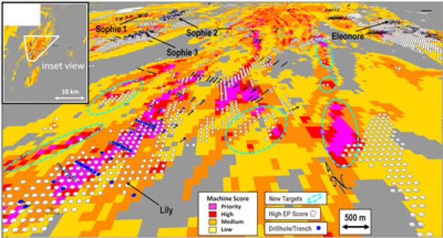 Figure 2. Oblique view of the core area of the property showing known mineralised areas and newly defined targets based on the Machine Learning Algorithm and the overlying high Eleonore Prospectivity white blocks. Note that certain areas show good correlation, while others are mutually exclusive. Produced by SGS Geostat Canada. (CNW Group/Algold Resources Ltd.)