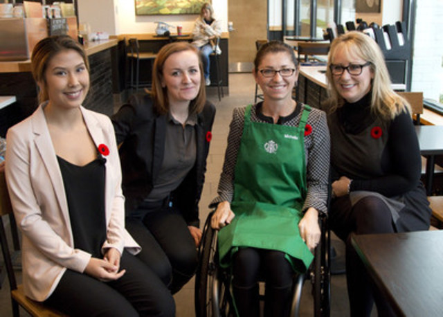 Starbucks in partnership with the Ministry of Social Development and Social Innovation, announced today that 10% of all store new hires in Vancouver will be dedicated to Opportunity Youth. L-R Kristin Duncan, Fiona Kehler who are both graduates of the Starbucks Work Placement Program, The Honourable Michelle Stilwell, Minister of Social Development and Social Innovation along with Caroline Ternes, regional vice president, West/Central Region, Starbucks Canada. (CNW Group/Starbucks Coffee Canada)