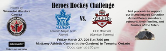 Wounded Warriors Canada Set to Host the 2015 Heroes Hockey Challenge in Toronto (CNW Group/Wounded Warriors Canada)
