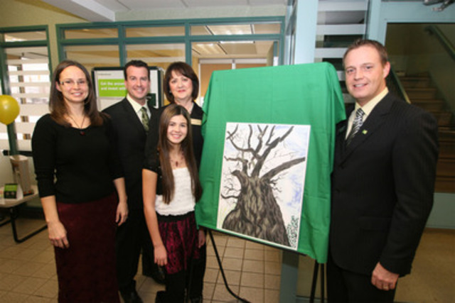 Sophia Maltese, a grade seven student at Bishop EQ Jennings Senior Elementary School, and winner of this year's TD FEF and Earth Day Canada Art Contest, celebrates her win with her mother Deana Maltese, teacher Joel Biesenthal, principal Margaret Hall, and Derek Mainville, DVP, TD Canada Trust, at an event at the TD Canada Trust on Memorial Avenue, in Thunder Bay, Ontario. (CNW Group/TD Friends of the Environment Foundation)