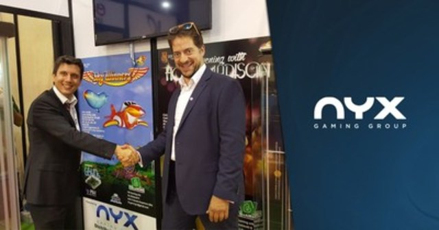 ENADA 2016 exposition (Rome, Italy): NYX Gaming Group Regional Manager Southern Europe, Andrea Guzzon (left) and Managing Director of FM Gaming Italy, Fabio Castaldo (right) celebrate licensing agreement for the distribution of NYX casino content into the Italian Comma 6a retail market. (CNW Group/NYX Gaming Group Limited)