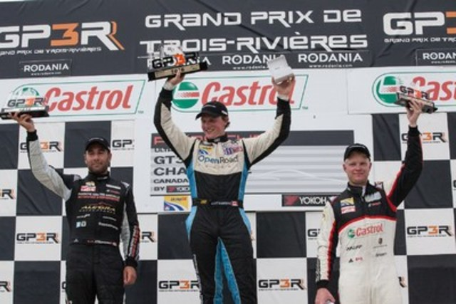 On Saturday, in Round 9 of the 2016 Ultra 94 Porsche GT3 Cup Challenge Canada by Yokohama, Scott Hargrove (centre) was able to hold off Daniel Morad (left) and Chris Green (right), who finished in second and third respectively. (CNW Group/Porsche Cars Canada)