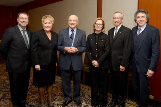 Jean de Grandpre, winner of Québec Employers Council 2013 Prix de carrière, surrounded by the Premier of Quebec, Pauline Marois, the President, Yves-Thomas Dorval, and personalities inducted into Club entrepreneurs Council (Jacynthe Côté, chief executive of Rio Tinto Alcan, Yvon Charest, President and Chief Executive Officer of Industrial Alliance, and Dr. Sheldon Elman, founder and CEO of Medisys). (CNW Group/Bell Canada)