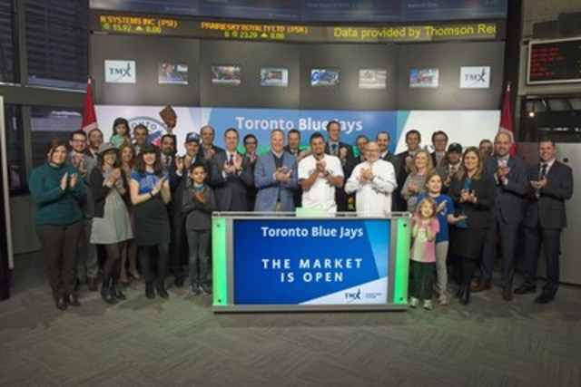 Mark Shapiro, President and CEO, Toronto Blue Jays and Toronto Blue Jays pitcher, Arnold Leon joined Lou Eccleston, CEO, TMX Group and Peter Conroy, President, TMX Shorcan Brokers Limited to open the market to celebrate the 2016 Major League season. The Toronto Blue Jays will play their home opening series on the weekend of April 8th against the Boston Red Sox at the Rogers Centre. For more information, please visit http://toronto.bluejays.mlb.com/ (CNW Group/TMX Group Limited)