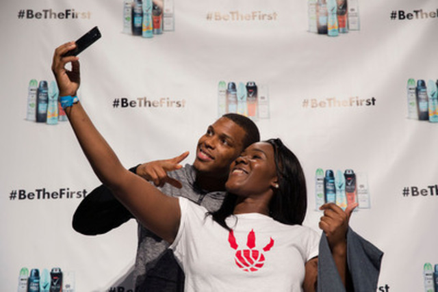 2015 NBA All-Star, Kyle Lowry greets over 700 fans at the launch event for Unilever Canada's new line of Dry Spray Antiperspirants, at Square One in Mississauga on February 7, 2015. (CNW Group/Unilever Canada Inc.)