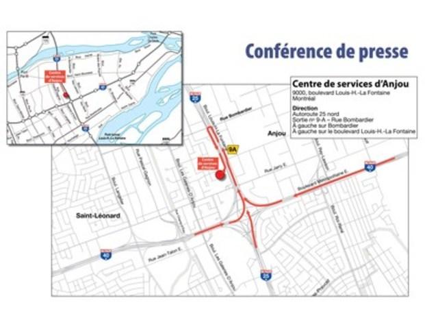 Itinéraire pour le Centre de services d'Anjou (Groupe CNW/Cabinet du ministre des Transports, de la Mobilité durable et de l'Électrification des transports)