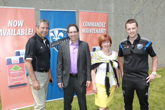Allerject and Montreal Impact announce their partnership. Richard Legendre (Montreal Impact), Daniel Lapointe (AQAA), Marie-Josée Larochelle (Sanofi Canada) and Nicolas Gaillard (Montreal Impact Soccer School). (CNW Group/Sanofi Canada)