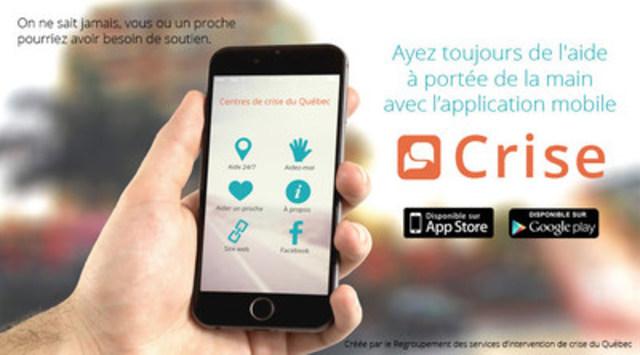 De l'aide 24/7 à portée de la main avec l'application mobile Crise (Groupe CNW/Regroupement des services d'intervention de crise du Québec)