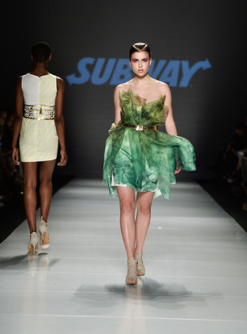 A healthy active lifestyle is always in style. Sunny Fong of VAWK debuts his capsule collection, VAWK for SUBWAY(R), including this lettuce-inspired couture, at World Mastercard(R) Fashion Week as part of SUBWAY(R) Style. Photo: George Pimentel (CNW Group/SUBWAY RESTAURANTS)