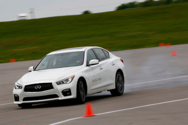 Before defending his victory at the Canadian Grand Prix in Montreal later this week, Infiniti's Director of Performance and Quadruple FIA Drivers' Formula One™ World Champion, Sebastian Vettel, put the Infiniti Q50 sports sedan through its paces at Canadian Tire Motorsports Park. (CNW Group/Infiniti)